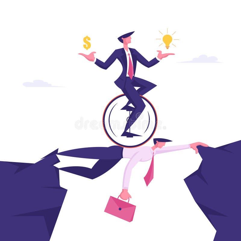 Бизнесмен на Monowheel с долларом и электрической лампочкой в руках ехать наверху коллеги бизнесмена Творческая идея иллюстрация вектора