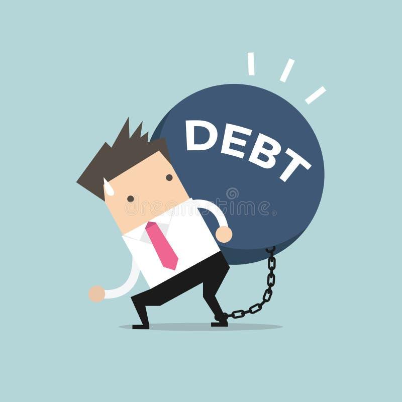 Бизнесмен носит задолженность Финансовый вектор концепции иллюстрация штока