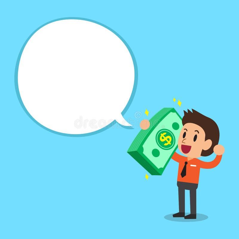 Бизнесмен нося большой стог денег с белым пузырем речи иллюстрация вектора