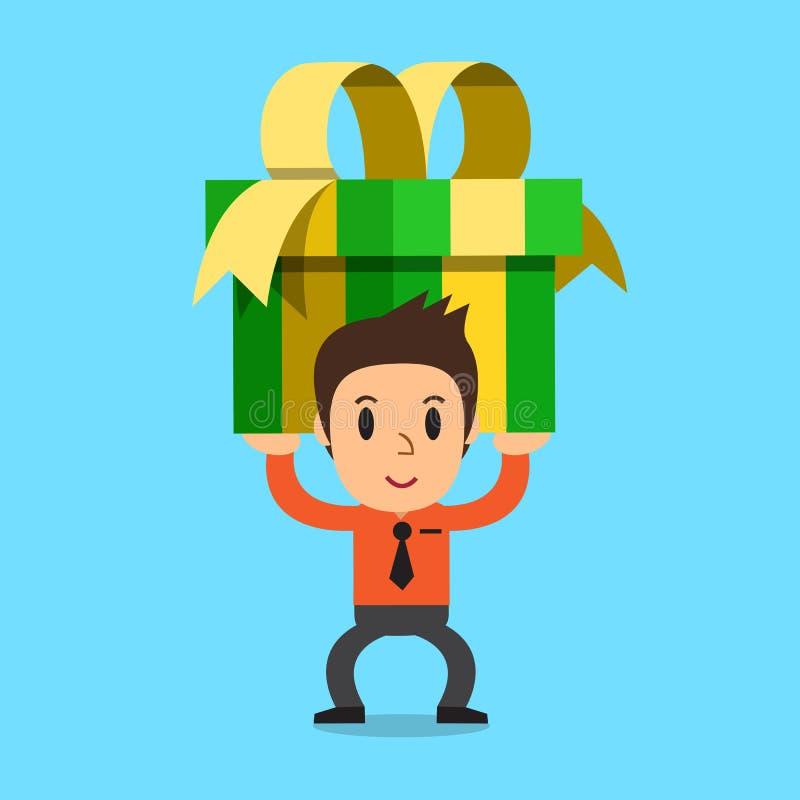 Бизнесмен нося большую подарочную коробку иллюстрация штока