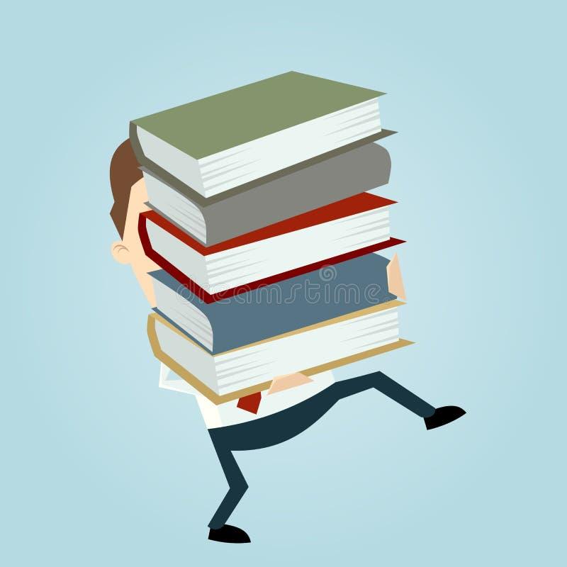 Бизнесмен нося стог книг иллюстрация вектора