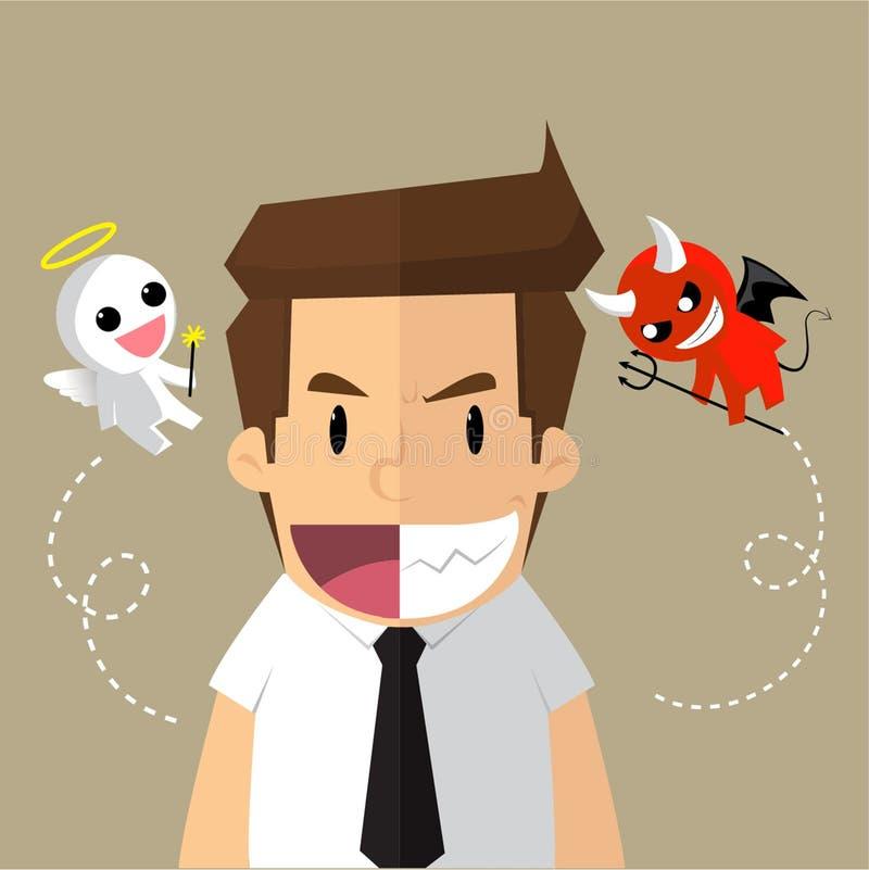Бизнесмен, обманывать, хороший - зло иллюстрация вектора