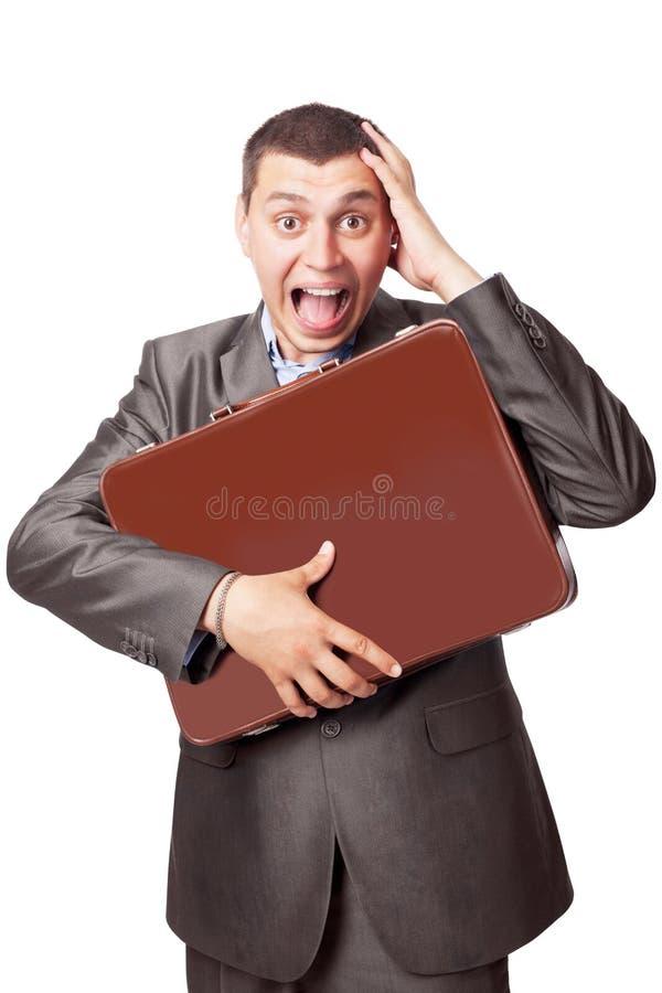 бизнесмен обнимает детенышей портфолио стоковые изображения