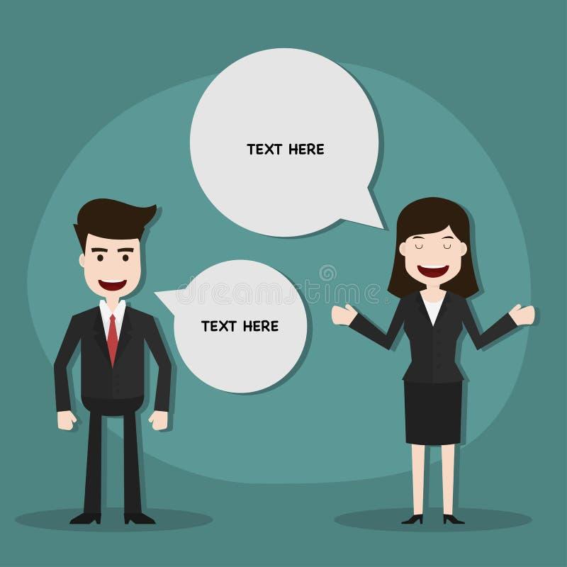 Бизнесмен обсуждая с беседой пузыря иллюстрация штока