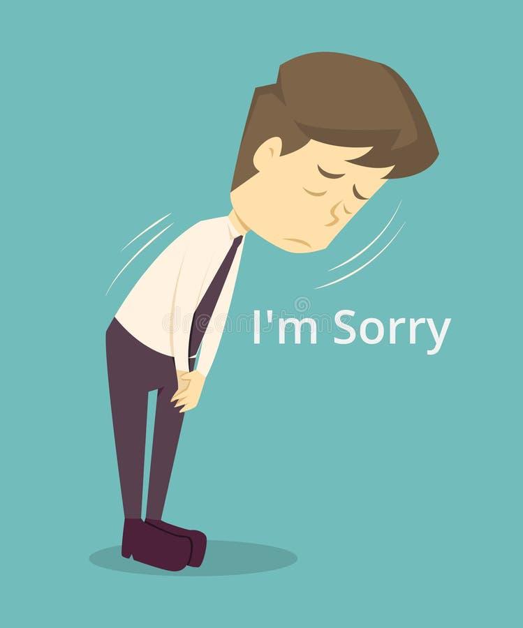 Бизнесмен огорченный, извиняется мультфильм дела, unsuccess работника концепция дела характеров человека, настроения  иллюстрация штока