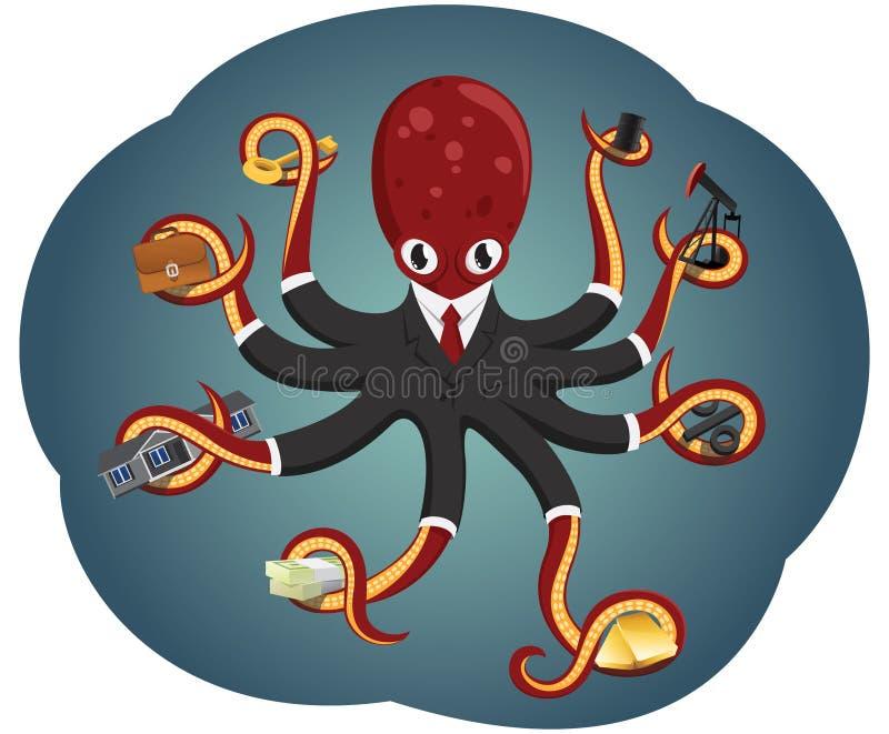 Бизнесмен осьминога иллюстрация вектора