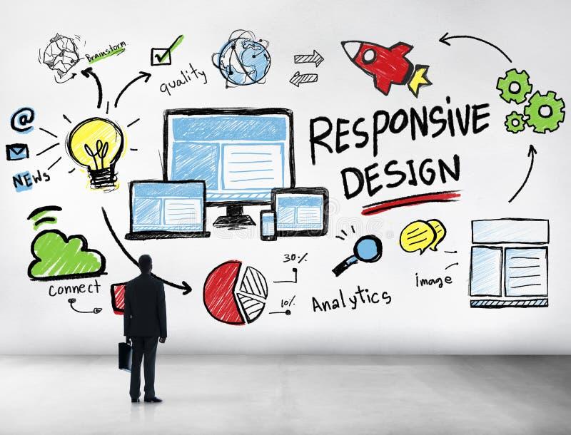 Бизнесмен отзывчивой сети интернета дизайна онлайн профессиональный стоковая фотография