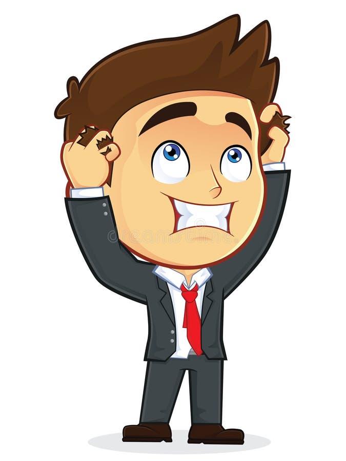 Бизнесмен отчаяния держа голову иллюстрация штока