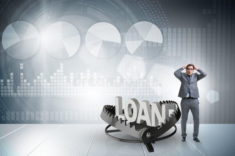 Бизнесмен падая в ловушку кредита займа бесплатная иллюстрация
