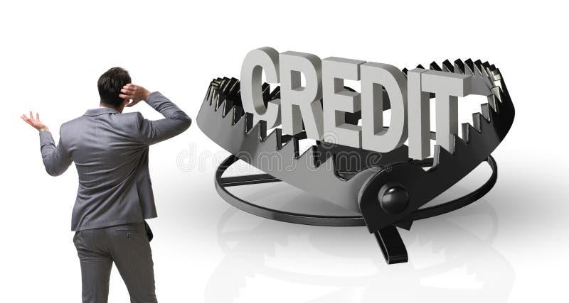 Бизнесмен падая в ловушку кредита займа иллюстрация штока