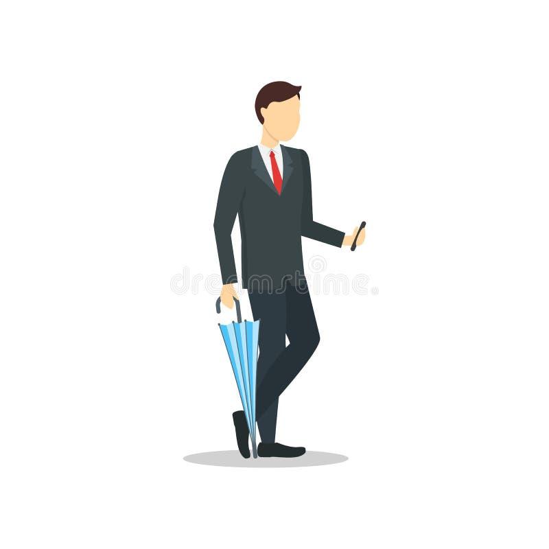 Бизнесмен персонажа из мультфильма держа зонтик цвета r иллюстрация вектора