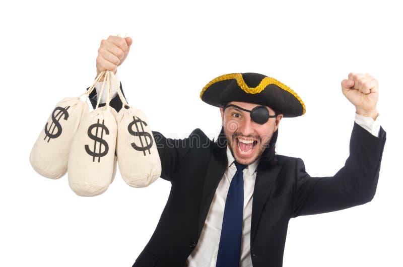 Бизнесмен пирата держа сумки денег изолированный на белизне стоковые фото