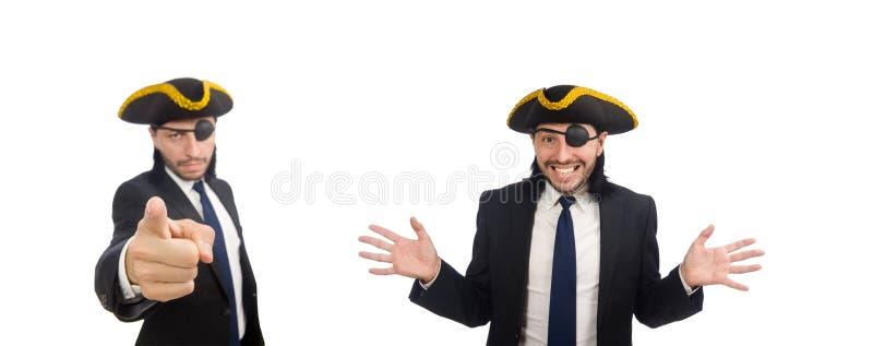 Бизнесмен пирата нося tricorn изолированное на белизне стоковое изображение
