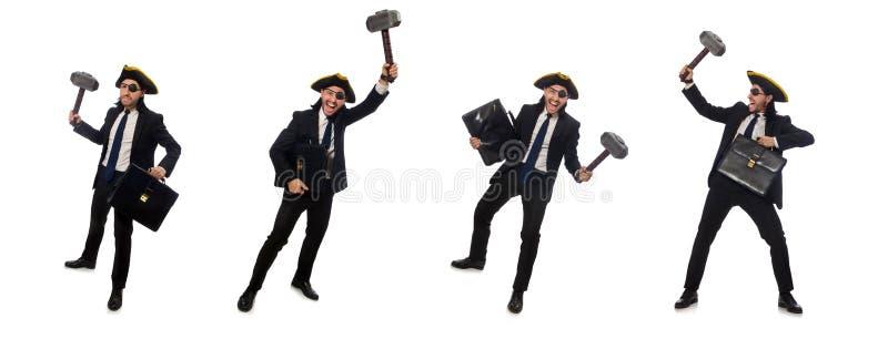 Бизнесмен пирата с молотком и портфелем изолированными на белизне стоковое изображение rf