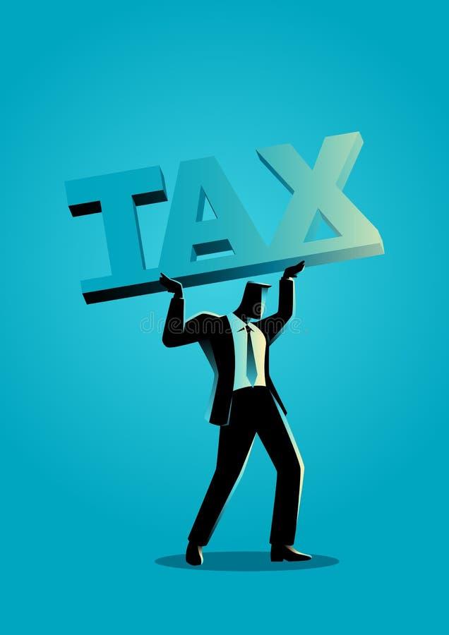 Бизнесмен поднимая большой шрифт блока с налогом слова бесплатная иллюстрация