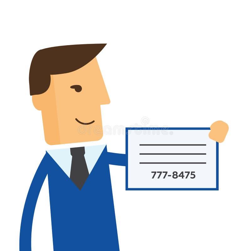 Бизнесмен показывает визитную карточку иллюстрация штока