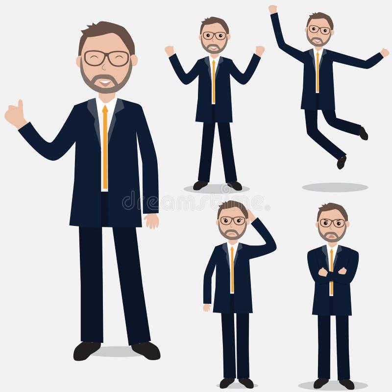Бизнесмен показывает в различных эмоциях Ilustration EPS иллюстрация вектора