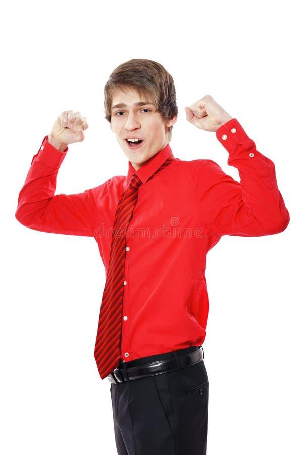 бизнесмен показывая большой пец руки знака вверх по детенышам стоковые фото