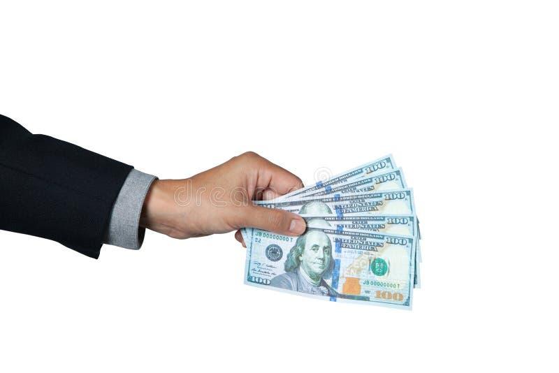 Бизнесмен показывая доллар в наличии для оплаты стоковое фото rf