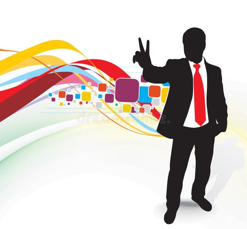 бизнесмен показывая победу знака иллюстрация штока