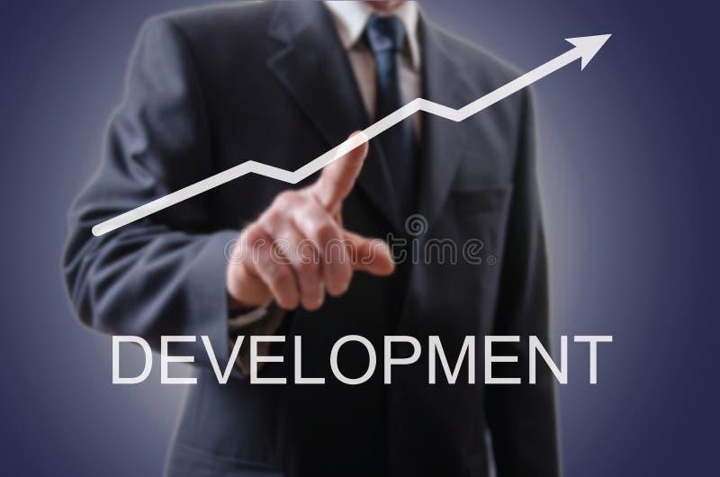 Бизнесмен показывая развитие иллюстрация вектора