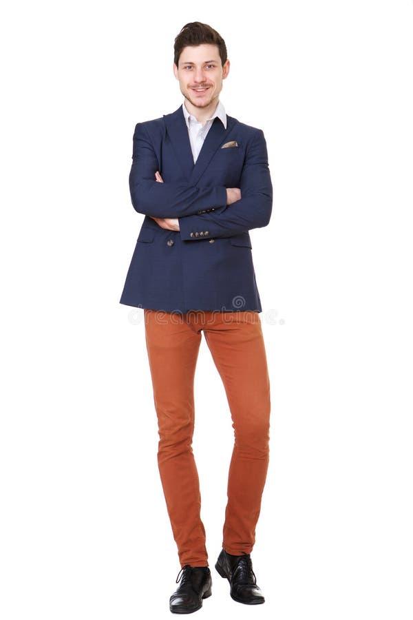 Бизнесмен полного тела молодой против изолированной белой предпосылки стоковая фотография rf