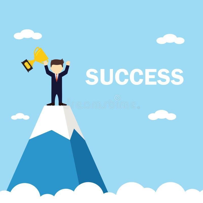 Бизнесмен получает трофей на верхней части горы r бесплатная иллюстрация