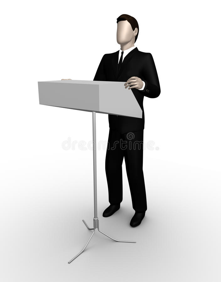 бизнесмен поставляет трибуна речи стоковые фотографии rf