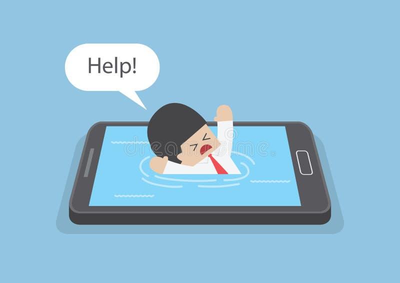 Бизнесмен потонул или утонул в smartphone иллюстрация штока