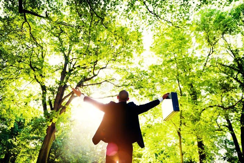 Бизнесмен подготовляет концепцию зеленого цвета леса Oustretched стоковое фото rf
