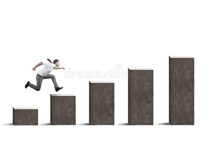 Бизнесмен поднимает статистик стоковая фотография rf