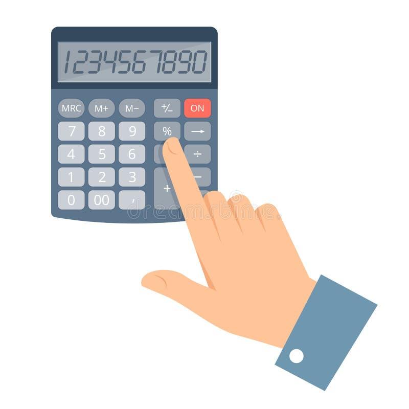 Бизнесмен подсчитывая заработки на калькуляторе иллюстрация штока