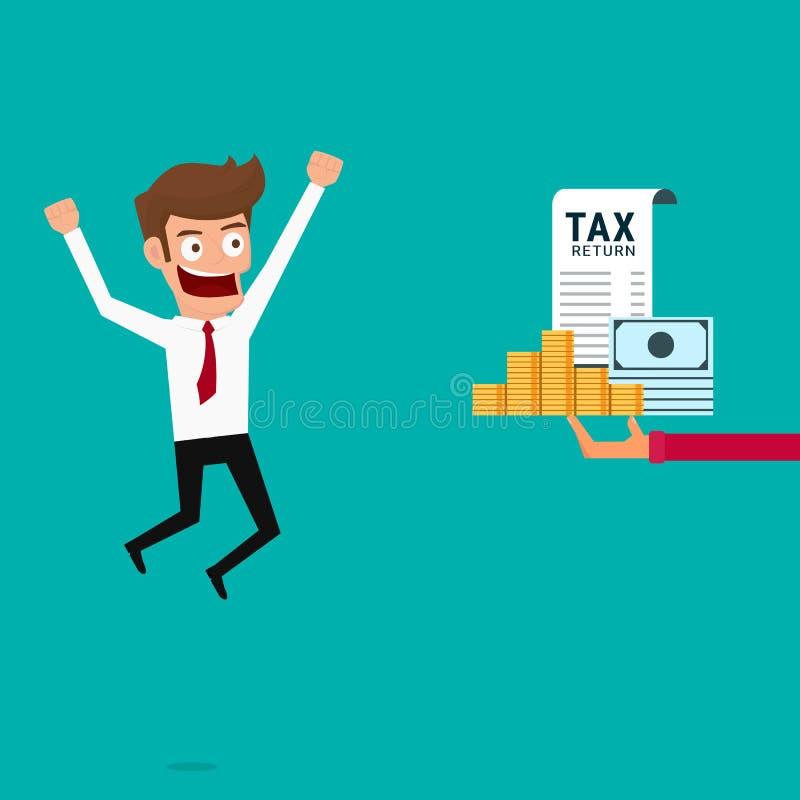 Бизнесмен получает возвращение денег Концепция налоговой декларации иллюстрация вектора