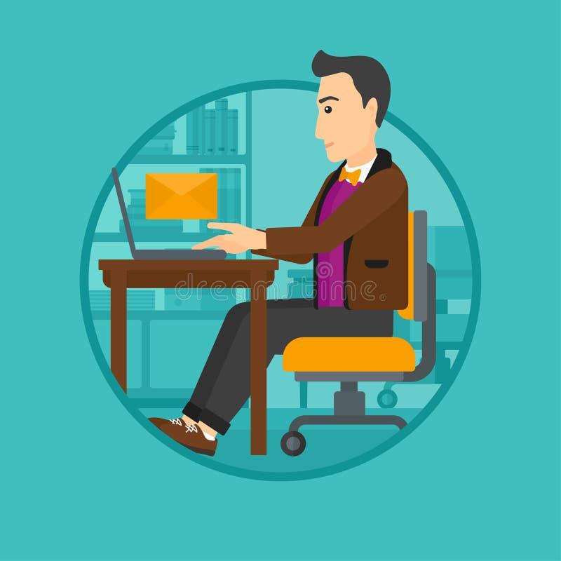 Бизнесмен получая или посылая электронную почту иллюстрация штока