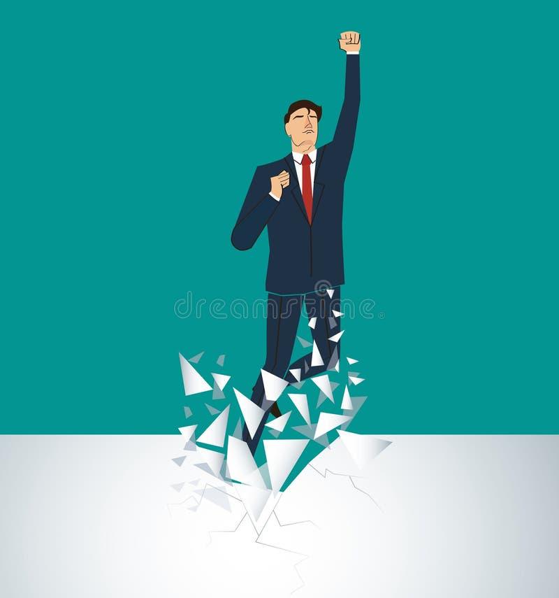 Бизнесмен празднуя успешное достижение Иллюстрация принципиальной схемы дела иллюстрация штока
