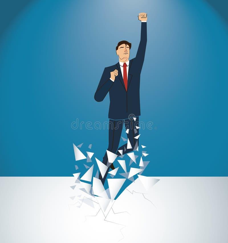 Бизнесмен празднуя успешное достижение Иллюстрация принципиальной схемы дела бесплатная иллюстрация