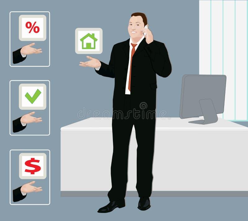 Бизнесмен предлагает разрешение проблемы иллюстрация вектора
