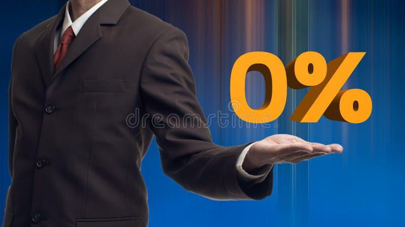 Бизнесмен представляет слову zero проценты с его собственными руками стоковые фото