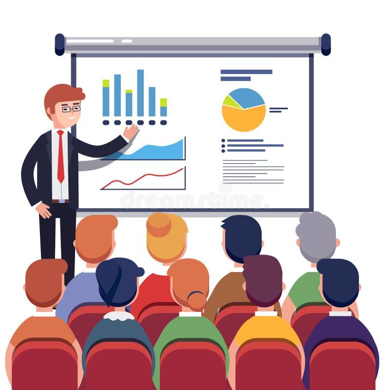 Бизнесмен представляя данные по маркетинга иллюстрация вектора