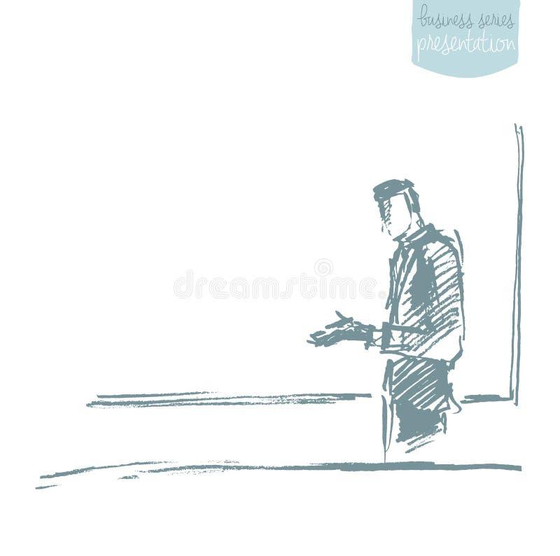 Бизнесмен представляя эскиз вектора концепции бесплатная иллюстрация
