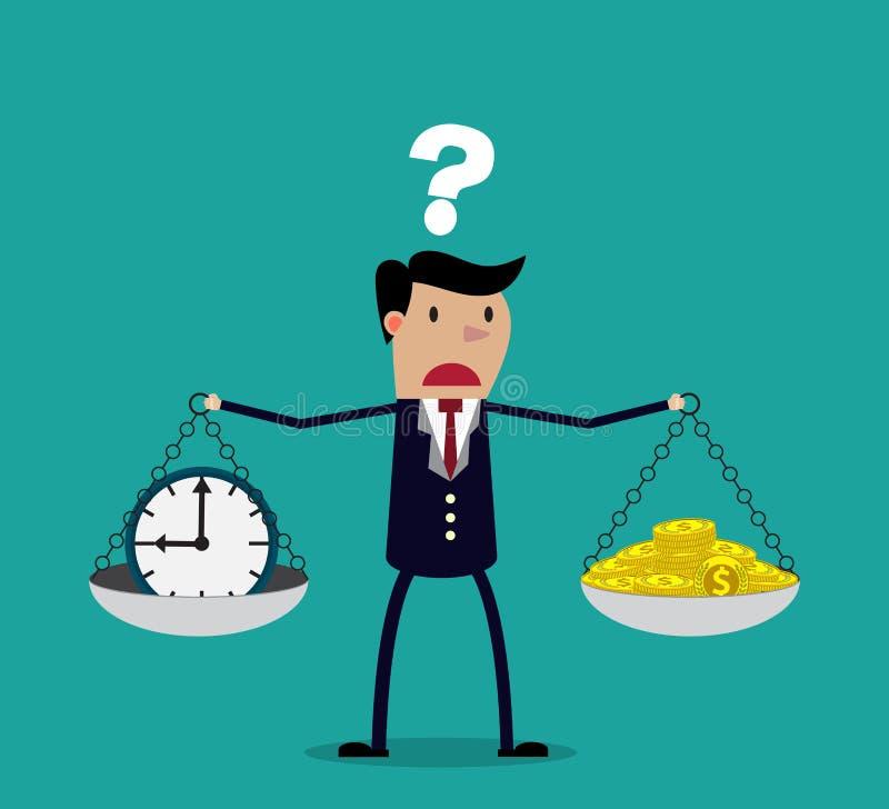 Бизнесмен принимая решениее между временем или деньгами иллюстрация вектора