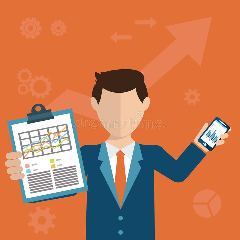 Бизнесмен при задача, показывая задачу и аналитический, плоский современный дизайн иллюстрация вектора