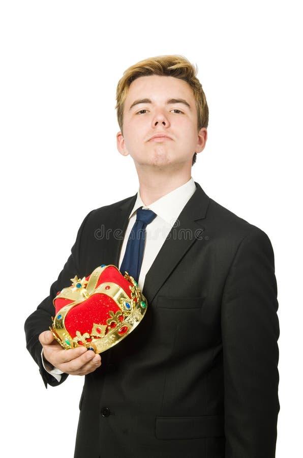 Бизнесмен при изолированная крона стоковая фотография rf
