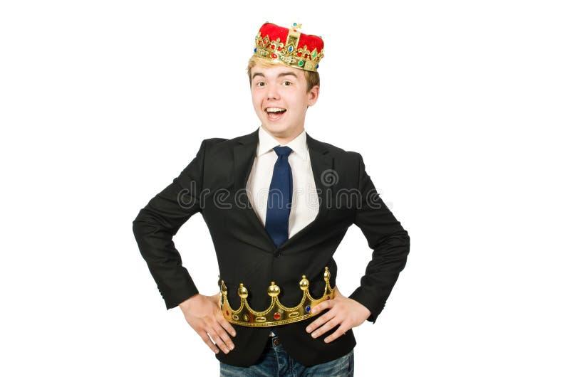 Бизнесмен при изолированная крона стоковая фотография