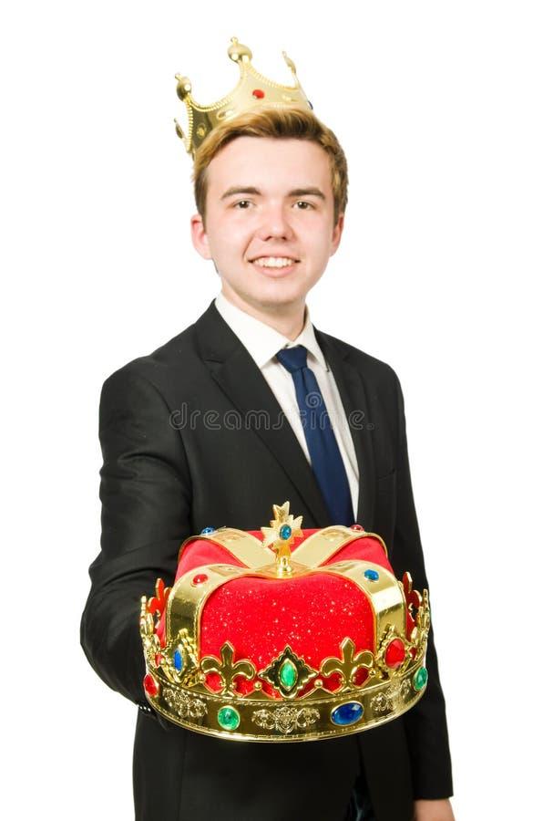Бизнесмен при изолированная крона стоковые фото