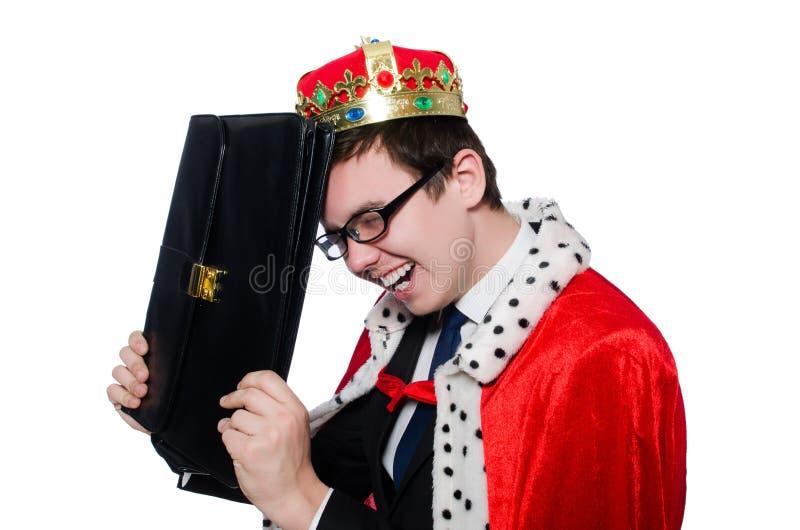 Бизнесмен при изолированная крона стоковое фото rf