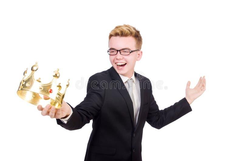 Бизнесмен при изолированная крона стоковое изображение