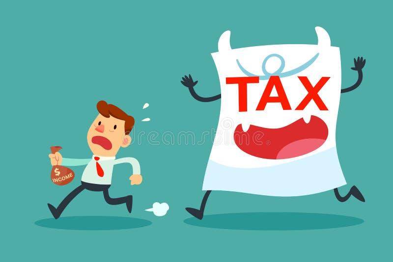 Бизнесмен при малый доход бежать далеко от monste бумаги налога иллюстрация штока