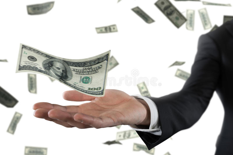 Бизнесмен при ненастные банкноты изолированные над белой предпосылкой Концепция успеха, карьеры и большого дохода стоковые изображения rf