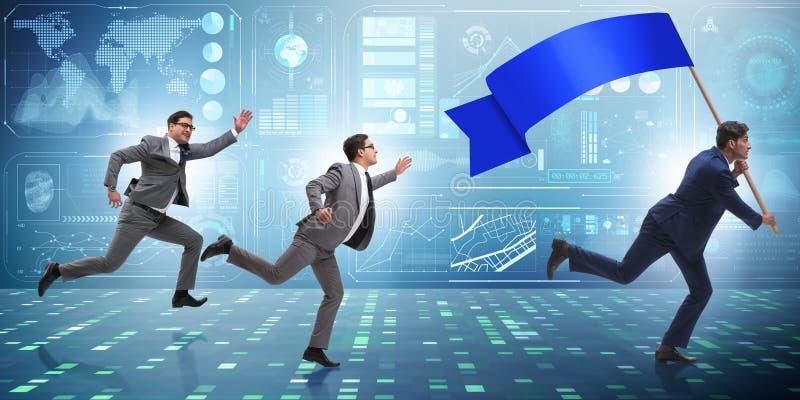 Бизнесмен при пустое знамя бежать в концепции дела стоковое изображение rf